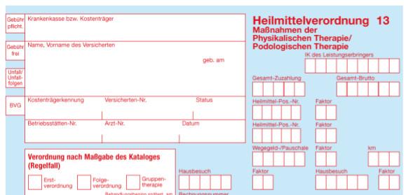 Vordruck Heilmittelverordnung 13 - Maßnahmen der Physikalischen Therapie